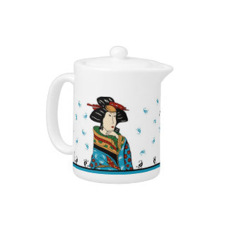 Japanese lady design tea pot.