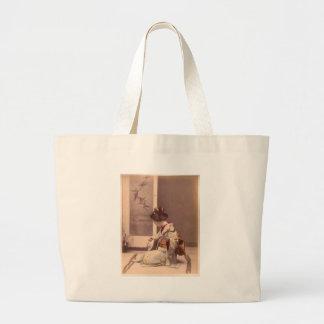 Japanese Lady Geisha Asian Vintage Art Large Tote Bag
