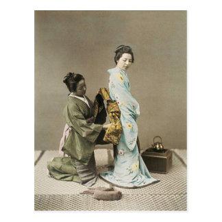 Japanese Lady Geisha Asian Vintage Art Postcard