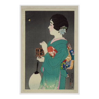 Japanese Lady Holding Cage of Fireflies - 1931 Poster