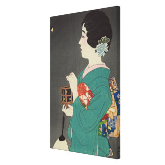 Japanese Lady holding firefly Cage Canvas Print