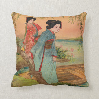 Japanese Lakeside Throw Pillow