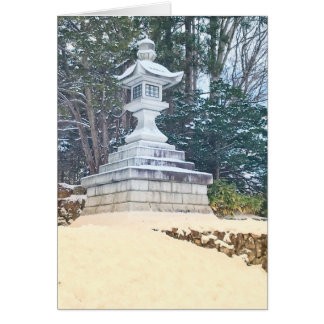 Japanese Lantern in the Snow Card