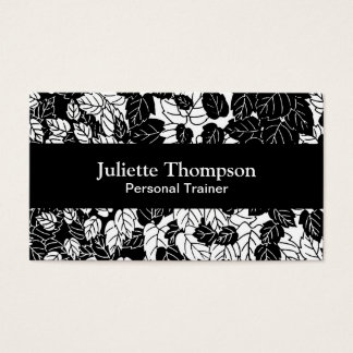 Japanese Leaf Print, Black and White Business Card