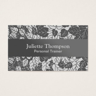 Japanese Leaf Print, Light and Dark Gray / Grey Business Card