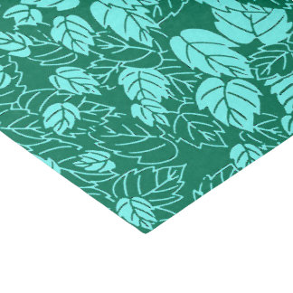 Japanese Leaf Print, Turquoise and Aqua Tissue Paper