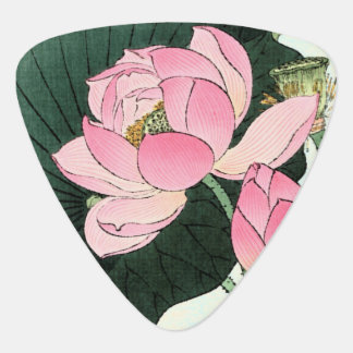 Japanese Lotus Flower Vintage Fine Art Guitar Pick