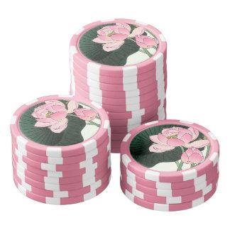 Japanese Lotus Flower Vintage Fine Art Poker Chips