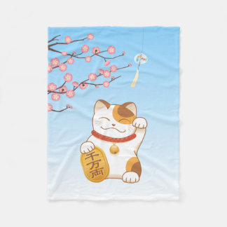 Japanese Lucky Calico Cat, Maneki Neko Fleece Blanket