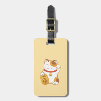 Japanese Lucky Cat, Calico Maneki Neko Luggage Tag