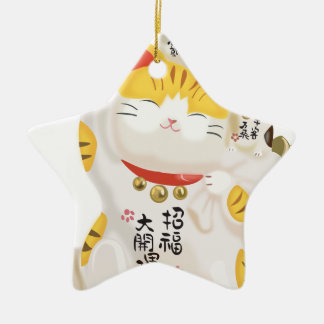Japanese Lucky Cat Ceramic Ornament