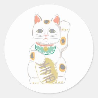 Japanese Lucky Cat Classic Round Sticker