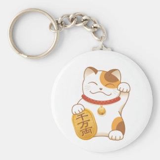 Japanese Lucky Cat, Maneki Neko Basic Round Button Key Ring