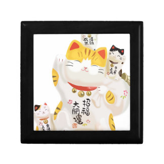 Japanese Lucky Cat Small Square Gift Box