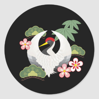Japanese Lucky Symbols Cool Elegant Black Round Sticker