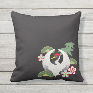 Japanese Lucky Symbols Cool Elegant Throw Pillow