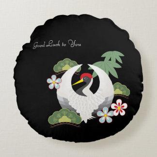 Japanese Lucky Symbols White Crane Bird Black Round Cushion