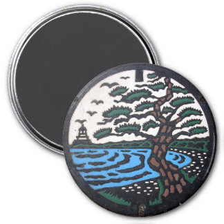 Japanese Manhole Cover Trees 7.5 Cm Round Magnet
