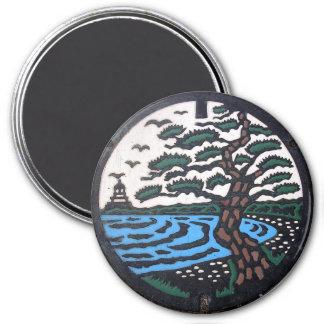 Japanese Manhole Cover Trees 7.5 Cm Round Magnet