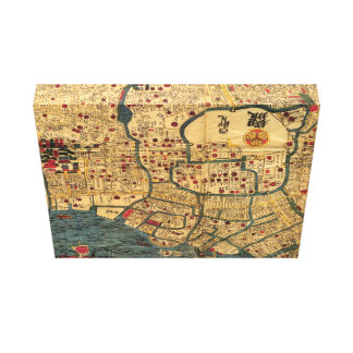 Japanese Map: Tokyo / Edo Stretched Canvas Print