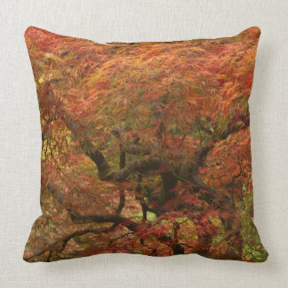 Japanese maple in fall color 4 throw pillow
