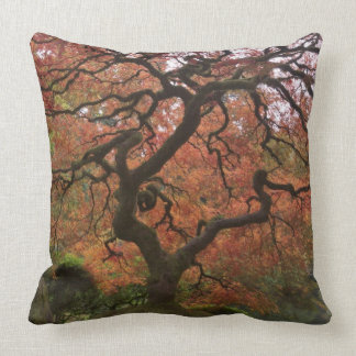 Japanese maple in fall color 5 throw pillow