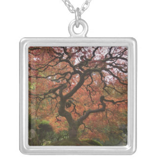 Japanese maple in fall color 5 square pendant necklace