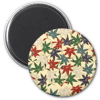 Japanese Maple Leaf 6 Cm Round Magnet