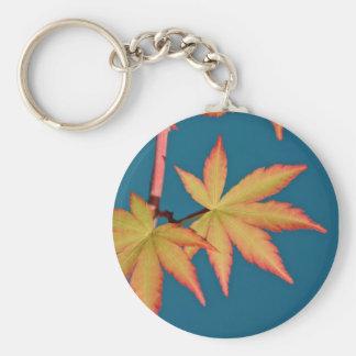 Japanese Maple Leaf Key Tag Fob Chain Basic Round Button Key Ring