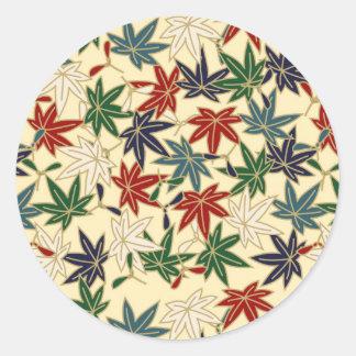 Japanese Maple Leaf Round Sticker