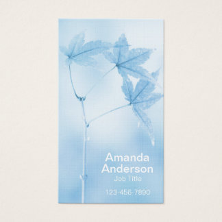 Japanese Maple Leaves in Blue Business Card