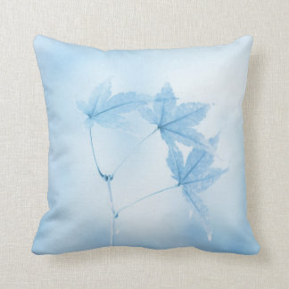 Japanese Maple Leaves in Blue Cushion