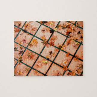 Japanese Maple Leaves on Tiled Ground Jigsaw Puzzle