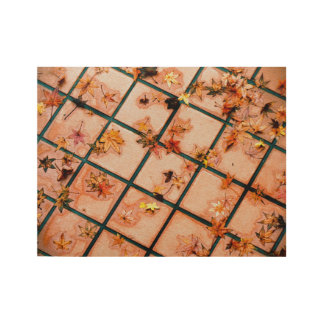 Japanese Maple Leaves on Tiled Ground Wood Poster
