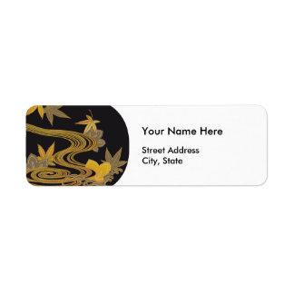 Japanese Maple Leaves & River Return Address Label