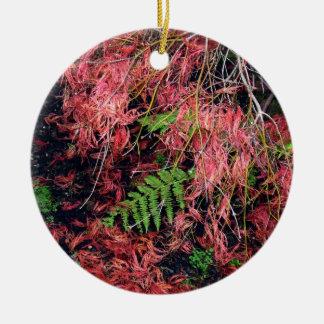 Japanese Maples Leaves carpet the soil Round Ceramic Decoration
