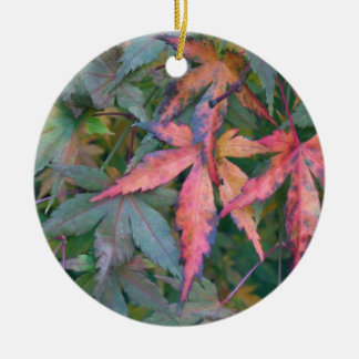 Japanese Maples Leaves in Fall - Photograph Round Ceramic Decoration