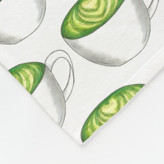 Japanese Matcha Green Tea Latte Teacup Foodie Fleece Blanket