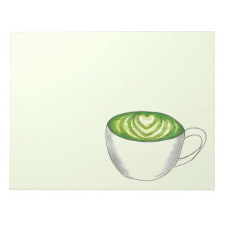 Japanese Matcha Green Tea Latte Teacup Foodie Notepad