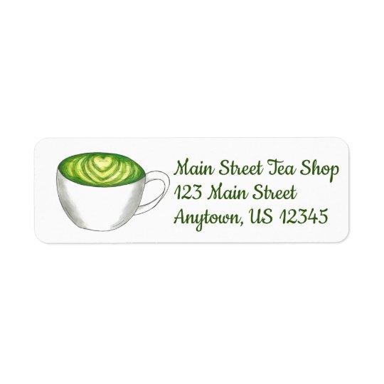 Japanese Matcha Green Tea Latte Teacup Foodie Return Address Label