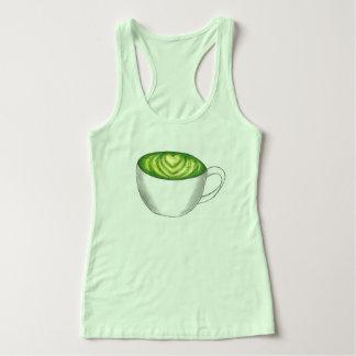 Japanese Matcha Green Tea Latte Teacup Foodie Singlet