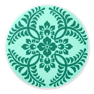 Japanese Medallion Pattern, Aqua and Turquoise Ceramic Knob