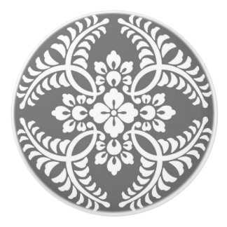 Japanese Medallion Pattern, Gray / Grey & White Ceramic Knob