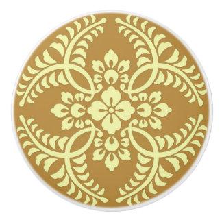 Japanese Medallion Pattern, Mustard Yellow Ceramic Knob