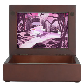 Japanese meditation Garden cartoon. Keepsake Box