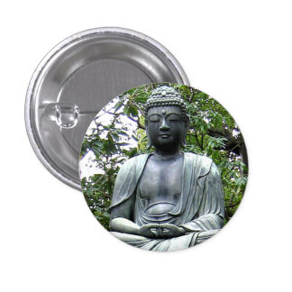Japanese Meditation Statue Photograph Pin Button