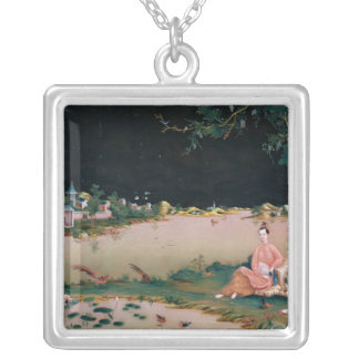 Japanese mirror painting showing a girl seated custom necklace