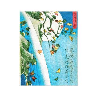 Japanese Moon and Waterfall Print Canvas Prints
