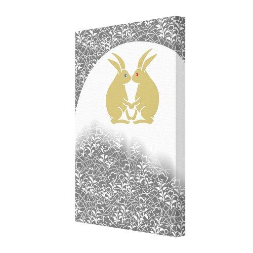Japanese Moon & Rabbits Canvas Prints