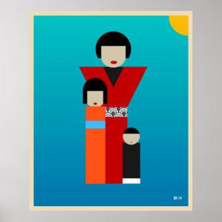 Japanese mother and children artwork poster